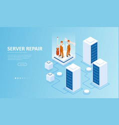 Isometric server under repair big data dark vector