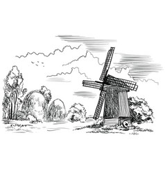 landscape with a windmill vector image