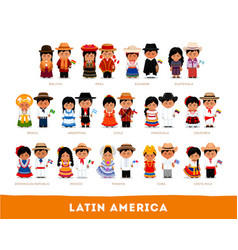 latin americans in national clothes vector image