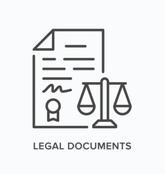 Legal document flat line icon outline vector
