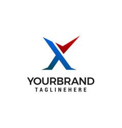 letter x check mark logo design concept template vector image