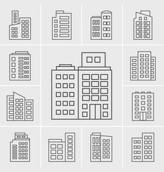 line icons building set vector image