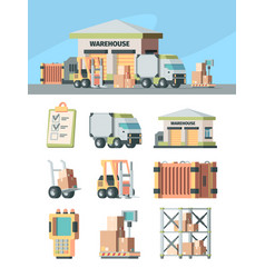 logistics warehouse and transport set cargo vector image