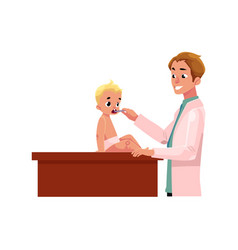 Male doctor pediatrician checking baby throat vector