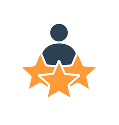 Man and three stars rating colored icon user vector