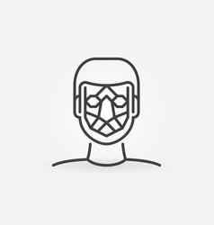 man face detection line icon facial vector image