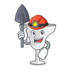 Miner margarita glass mascot cartoon vector