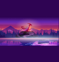 mountain landscape with red dragon and lake vector image