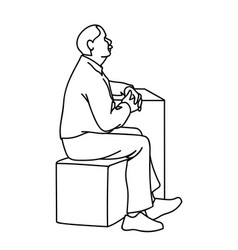 old man crossing his hands sitting on cube black vector image