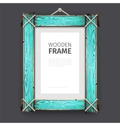 Old Wooden Frame with Cyan Paint vector