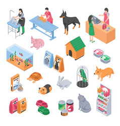 Pet shop veterinary grooming icon set vector