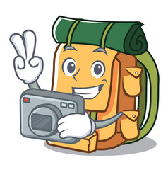 photographer backpack mascot cartoon style vector image