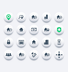 Real estate icons set apartments houses vector