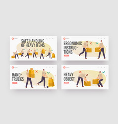 safe handling heavy items landing page template vector image
