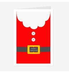 Santa Claus Coat Beard fur button and yellow belt vector image