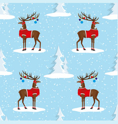seamless pattern with christmas deer vector image