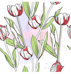 Seamless pattern with tulips vector