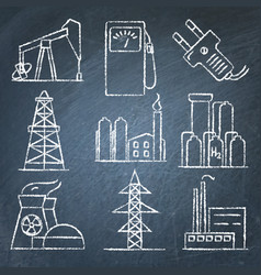 Set of energy and electricity hand drawn icons on vector