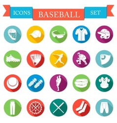 Set of icons flat about baseball vector image