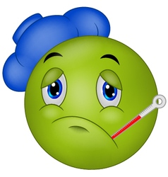 Sick emoticon smiley vector image