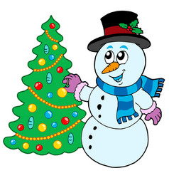snowman decorating christmas tree vector image