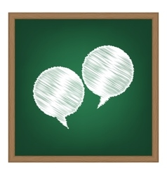 Speech bubble sign White chalk effect on green vector image