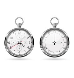 Stopwatch metal round clock with push button vector