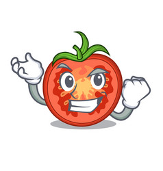 Successful cartoon tomato slices on chopping board vector