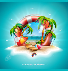 summer holiday with lifebelt vector image