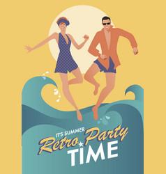 Summer retro party-01 vector
