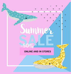 Summer sale banner with cute whales promotional vector