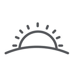 Sunset line icon weather and sun sunrise sign vector