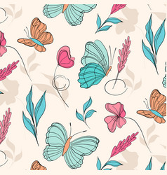 surface pattern with beautiful butterflies and vector image