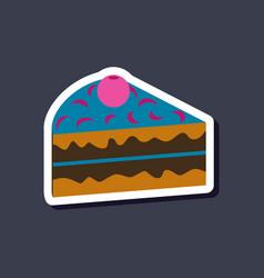 Sweet dessert in paper sticker berry cake vector