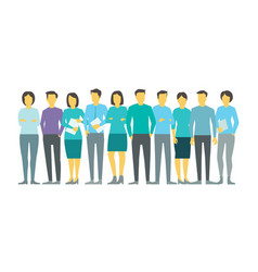 Ten people in line group business team persona vector