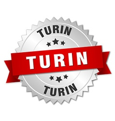 Turin round silver badge with red ribbon vector