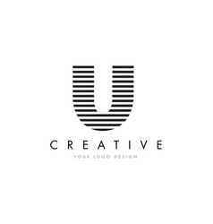 u zebra letter logo design with black and white vector image