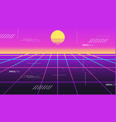 vaporwave background for disco virtual trendy vector image