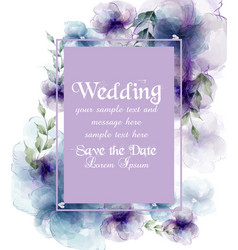 Wedding card with watercolor flowers vector