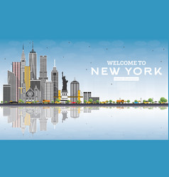 welcome to new york usa skyline with gray vector image