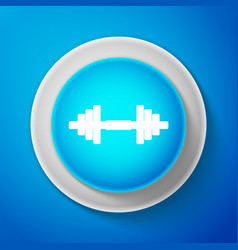 white dumbbell icon isolated on blue background vector image