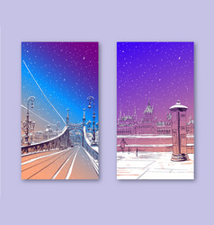 winter city bridge freedom budapest vector image