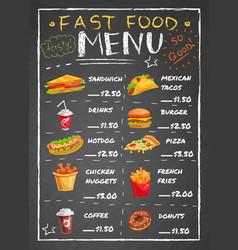 fast food restaurant menu on chalkboard vector image vector image