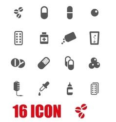 grey pills icon set vector image vector image