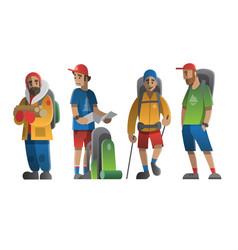 Hiking man characters set vector