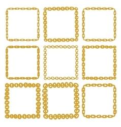 Set of 9 decorative square gold border frames vector image vector image