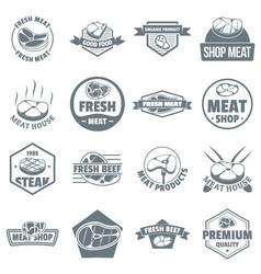 steak logo icons set simple style vector image vector image