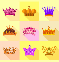 types of crown icons set flat style vector image vector image