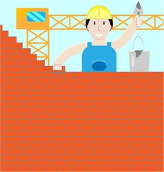 Builder builds a brick wall vector image