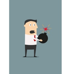 Businessman holding a lighted bomb vector image